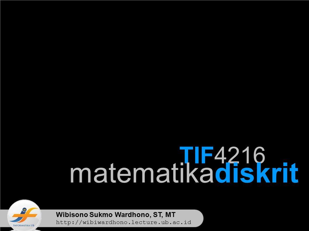 matematikadiskrit TIF4216 Wibisono Sukmo Wardhono, ST, MT