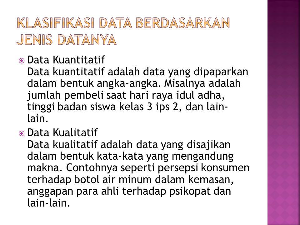 Klasifikasi DaTa Berdasarkan Jenis Datanya