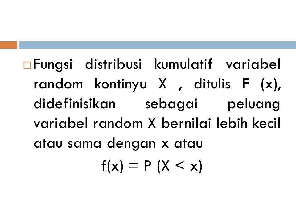 Fungsi distribusi kumulatif variabel random kontinyu X , ditulis F (x), didefinisikan sebagai peluang variabel random X bernilai lebih kecil atau sama dengan x atau