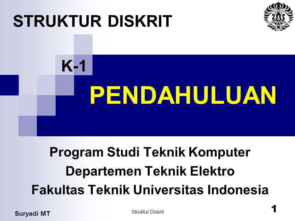 PENDAHULUAN STRUKTUR DISKRIT K-1 Program Studi Teknik Komputer