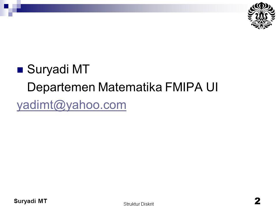 Departemen Matematika FMIPA UI yadimt@yahoo.com