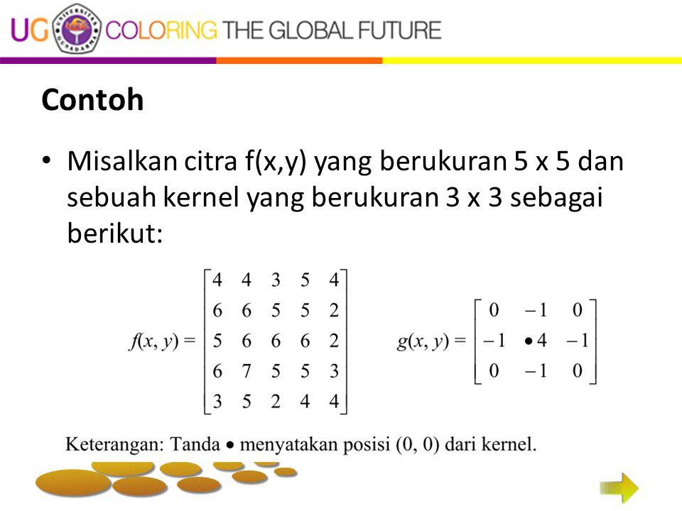 Contoh Misalkan citra f(x,y) yang berukuran 5 x 5 dan sebuah kernel yang berukuran 3 x 3 sebagai berikut: