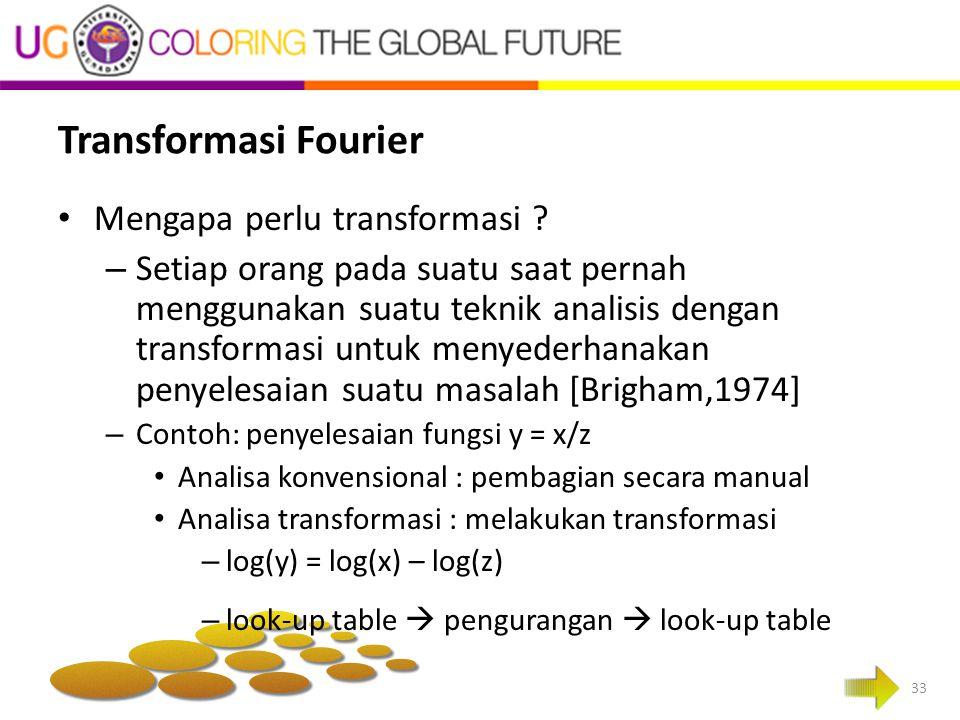 Transformasi Fourier Mengapa perlu transformasi