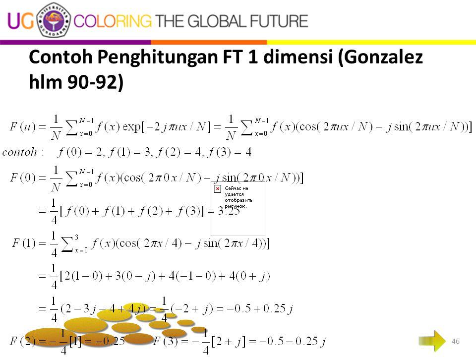 Contoh Penghitungan FT 1 dimensi (Gonzalez hlm 90-92)