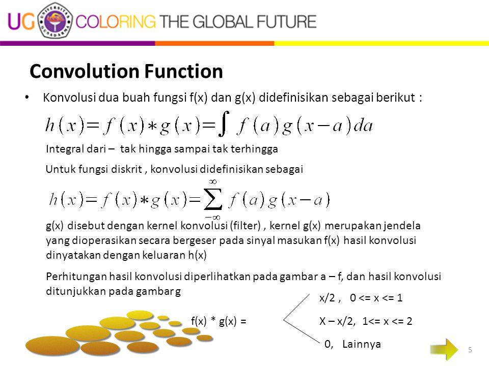 Convolution Function Konvolusi dua buah fungsi f(x) dan g(x) didefinisikan sebagai berikut : Integral dari – tak hingga sampai tak terhingga.