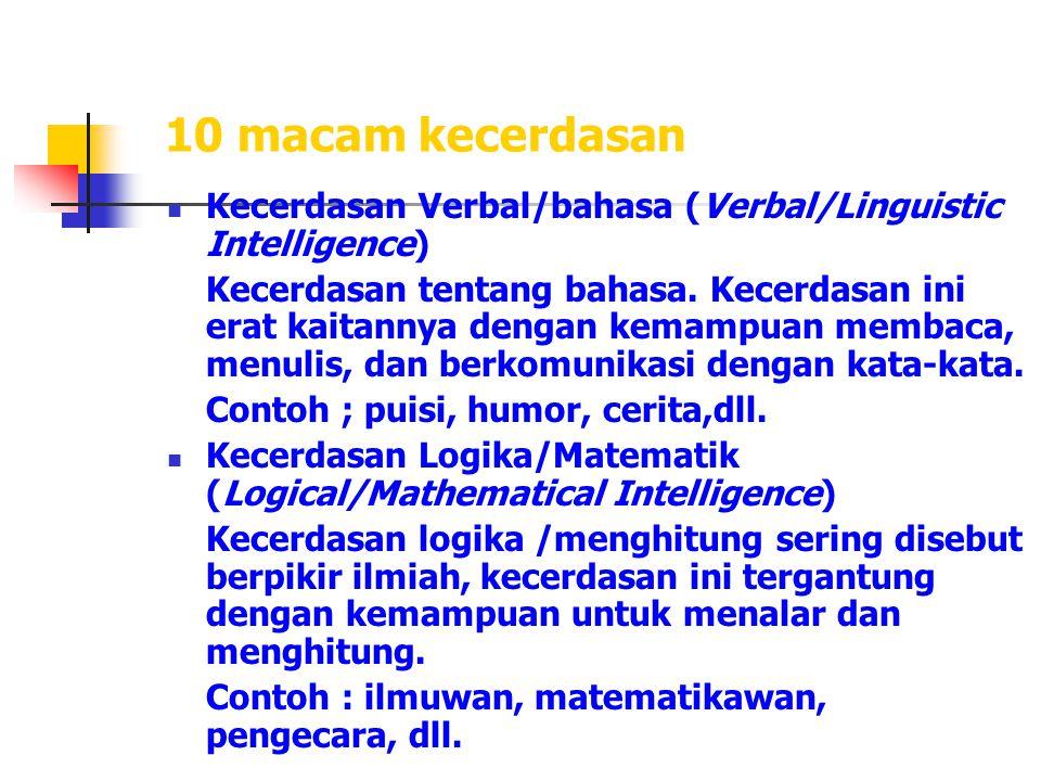 10 macam kecerdasan Kecerdasan Verbal/bahasa (Verbal/Linguistic Intelligence)