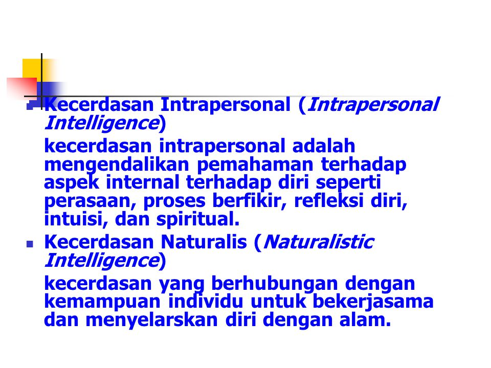 Kecerdasan Intrapersonal (Intrapersonal Intelligence)