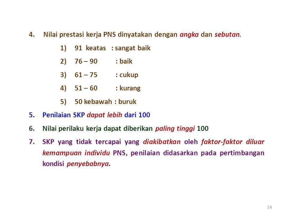4. Nilai prestasi kerja PNS dinyatakan dengan angka dan sebutan.
