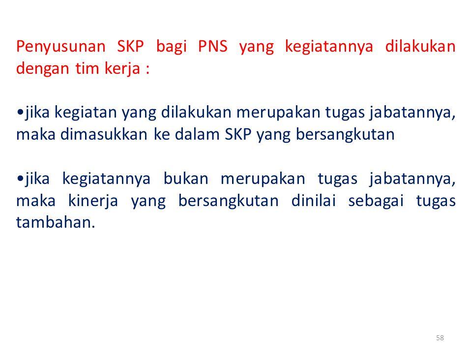 Penyusunan SKP bagi PNS yang kegiatannya dilakukan dengan tim kerja :