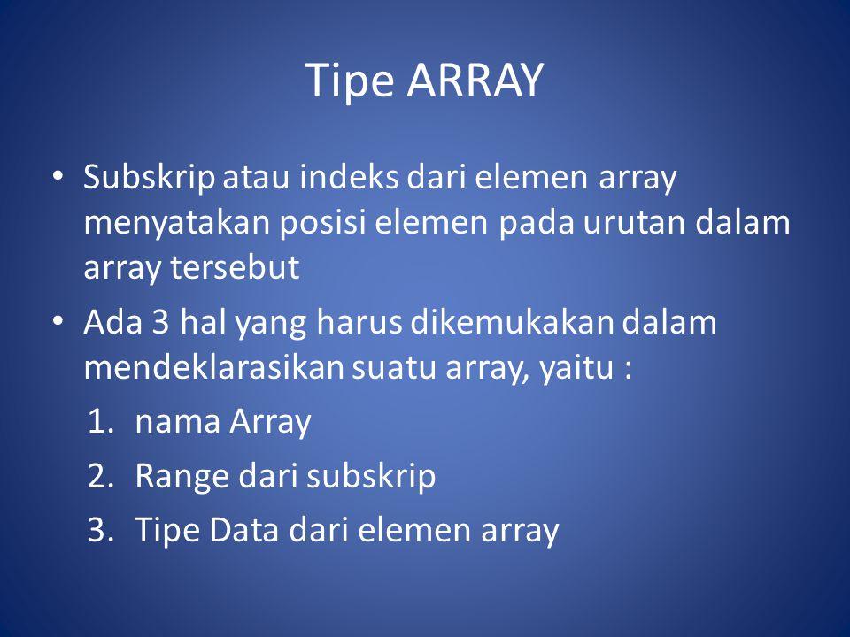Tipe ARRAY Subskrip atau indeks dari elemen array menyatakan posisi elemen pada urutan dalam array tersebut.
