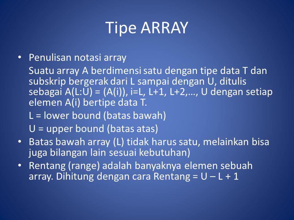 Tipe ARRAY Penulisan notasi array