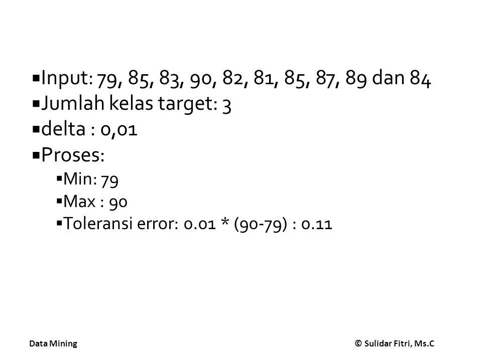 Input: 79, 85, 83, 90, 82, 81, 85, 87, 89 dan 84 Jumlah kelas target: 3. delta : 0,01. Proses: Min: 79.
