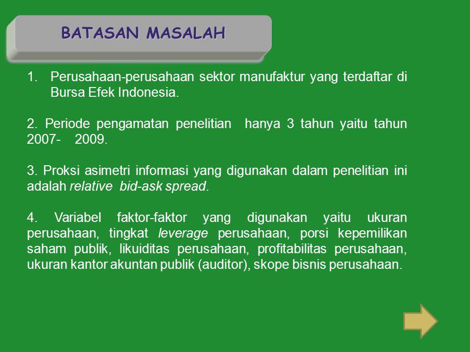 BATASAN MASALAH Perusahaan-perusahaan sektor manufaktur yang terdaftar di Bursa Efek Indonesia.
