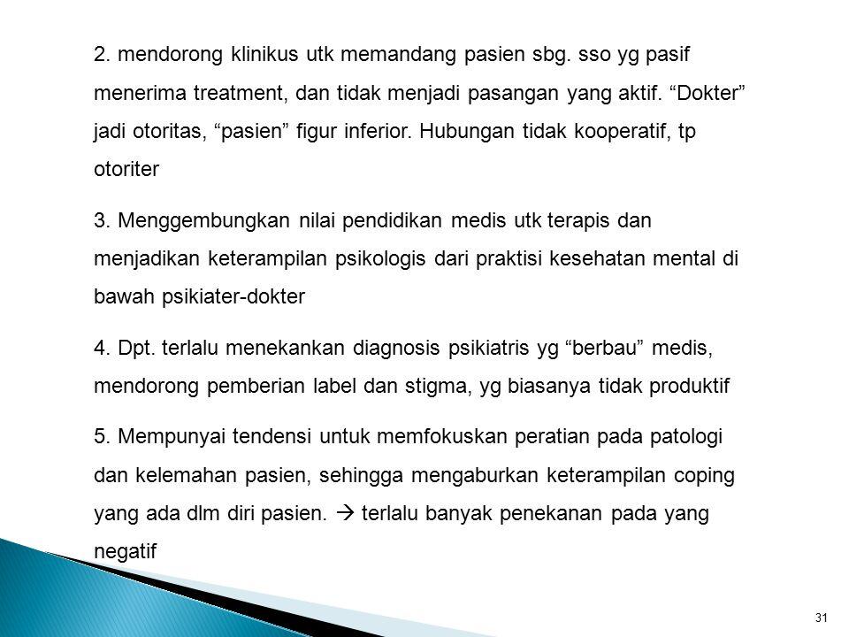2. mendorong klinikus utk memandang pasien sbg