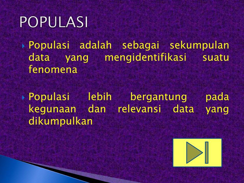 POPULASI Populasi adalah sebagai sekumpulan data yang mengidentifikasi suatu fenomena.