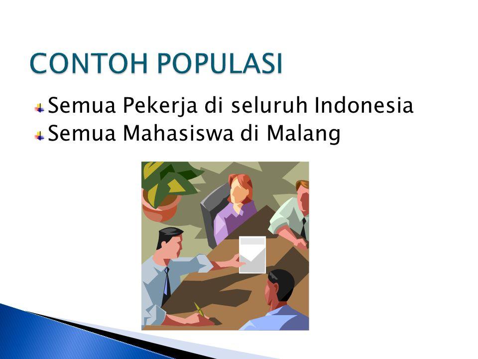 CONTOH POPULASI Semua Pekerja di seluruh Indonesia