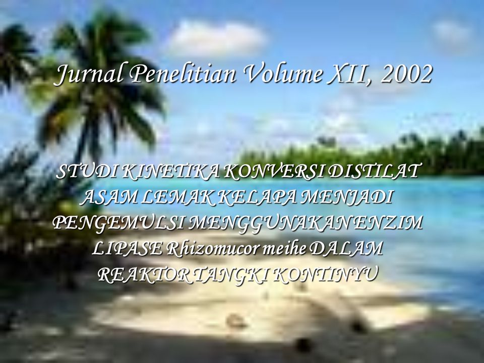 Jurnal Penelitian Volume XII, 2002