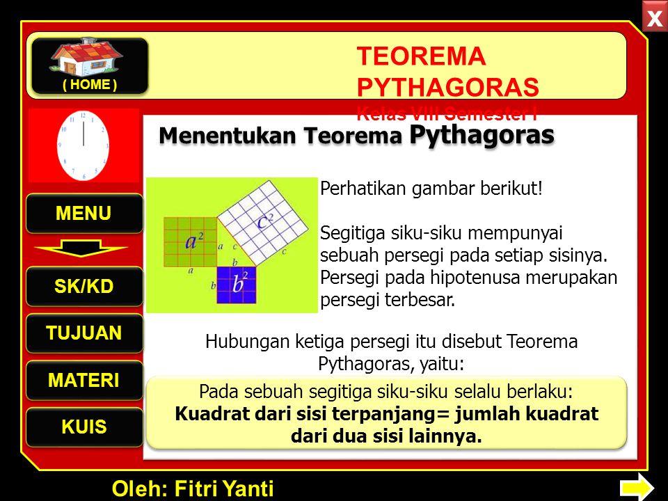 x Menentukan Teorema Pythagoras Perhatikan gambar berikut! MENU