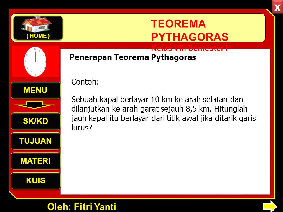 x Penerapan Teorema Pythagoras Contoh: MENU