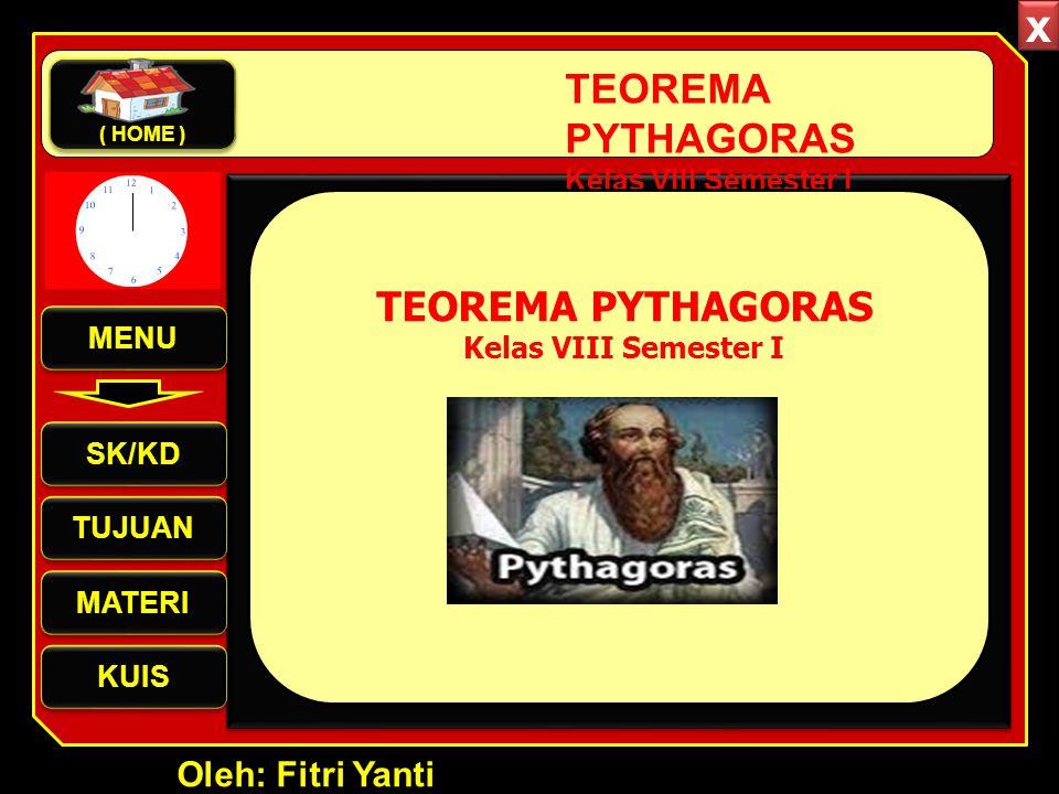 x TEOREMA PYTHAGORAS TEOREMA PYTHAGORAS Oleh: Fitri Yanti