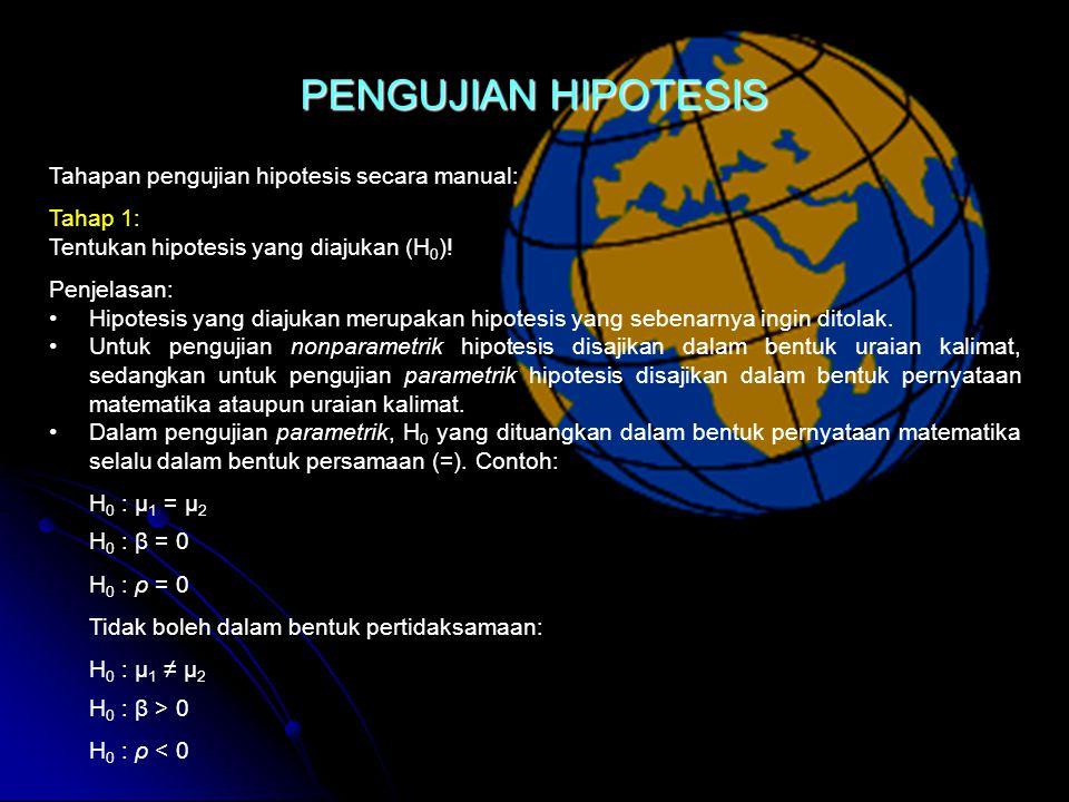 PENGUJIAN HIPOTESIS Tahapan pengujian hipotesis secara manual: