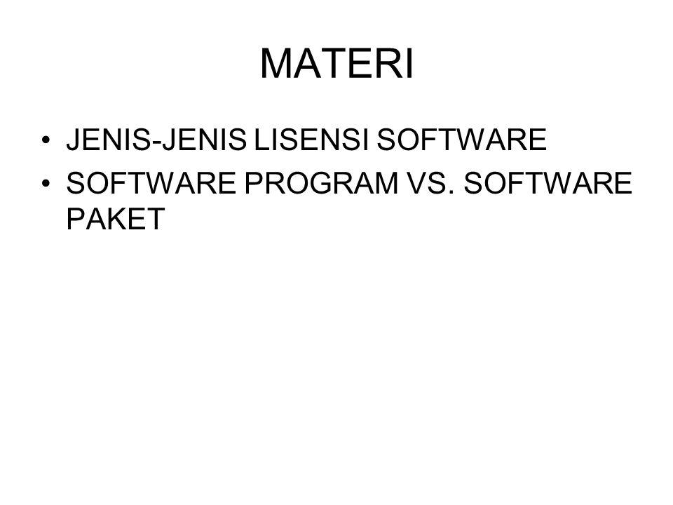 MATERI JENIS-JENIS LISENSI SOFTWARE