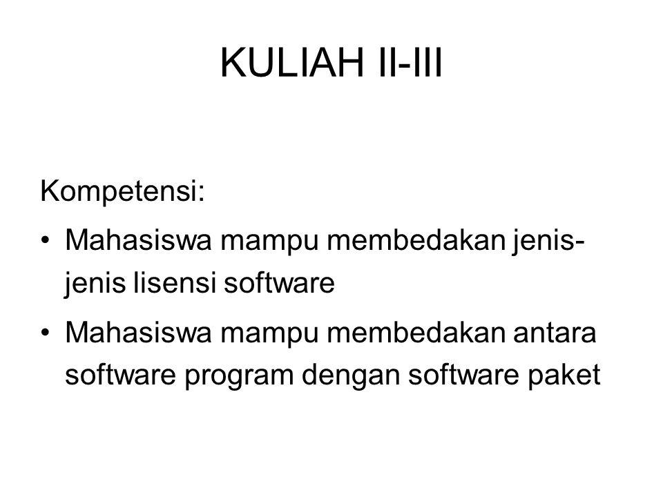 KULIAH II-III Kompetensi: