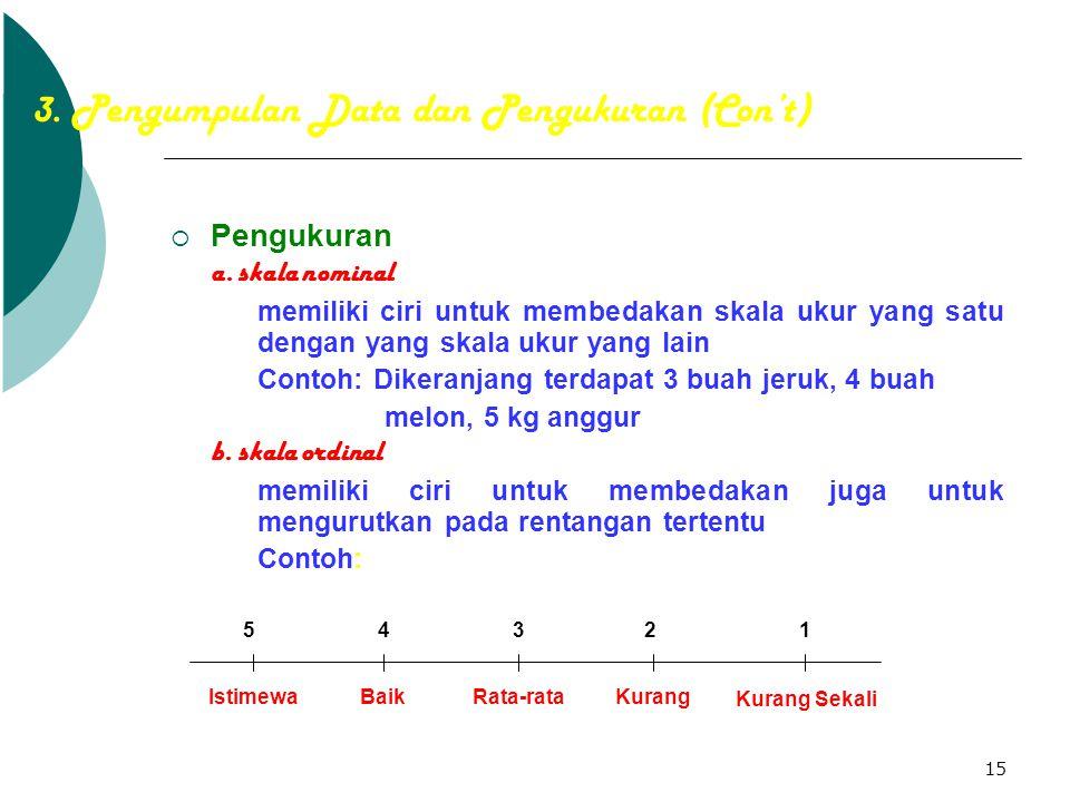 3. Pengumpulan Data dan Pengukuran (Con't)