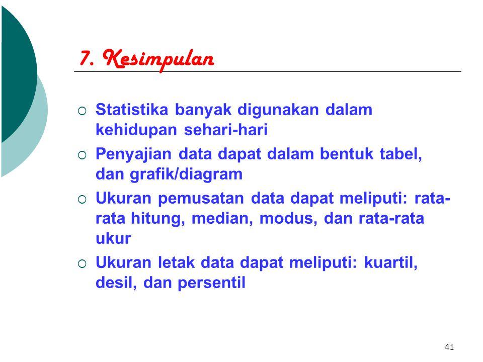 7. Kesimpulan Statistika banyak digunakan dalam kehidupan sehari-hari