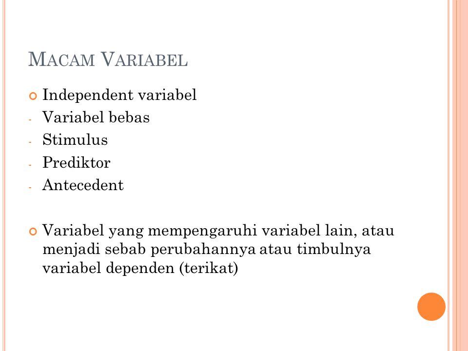 Macam Variabel Independent variabel Variabel bebas Stimulus Prediktor