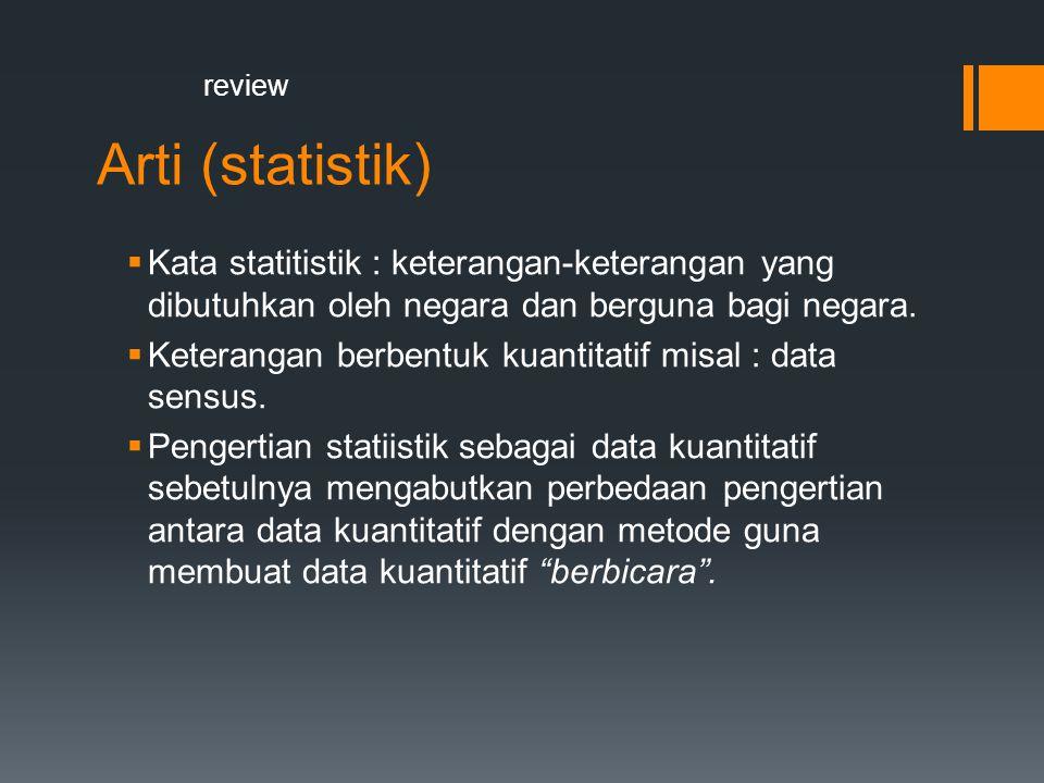 review Arti (statistik) Kata statitistik : keterangan-keterangan yang dibutuhkan oleh negara dan berguna bagi negara.