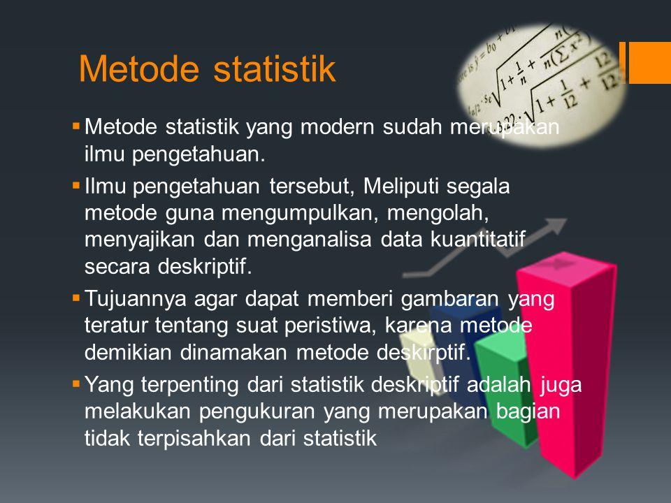 Metode statistik Metode statistik yang modern sudah merupakan ilmu pengetahuan.