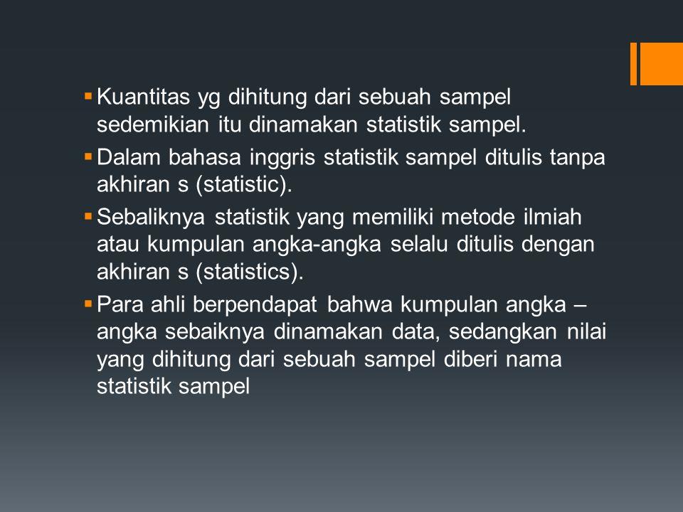 Kuantitas yg dihitung dari sebuah sampel sedemikian itu dinamakan statistik sampel.