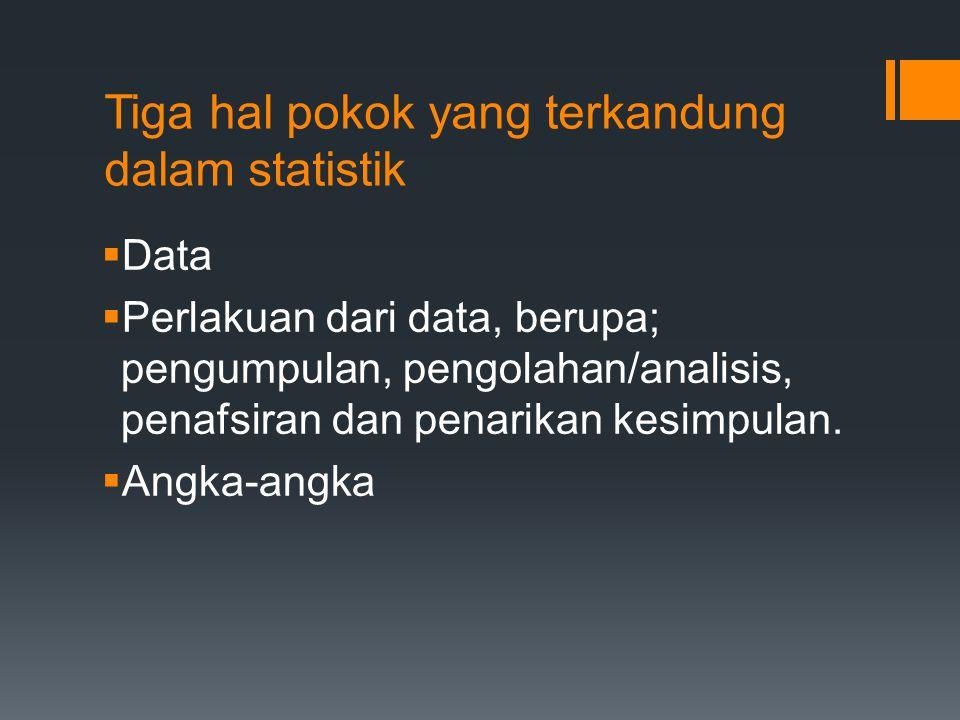 Tiga hal pokok yang terkandung dalam statistik