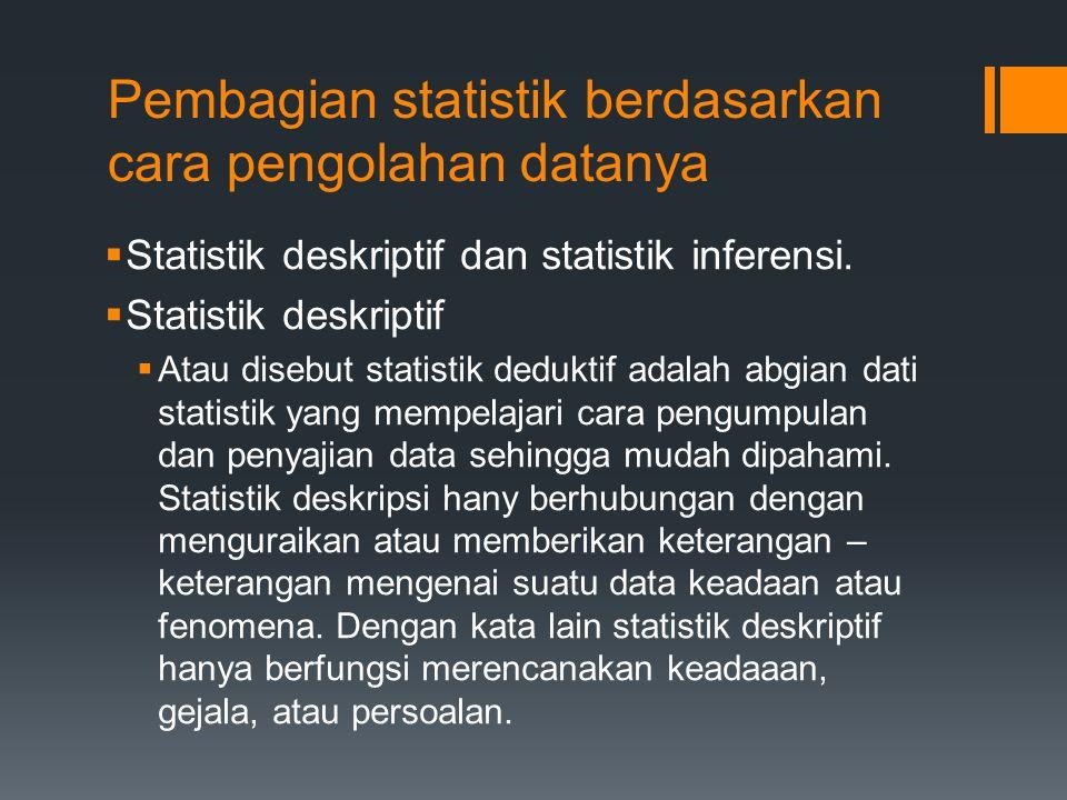 Pembagian statistik berdasarkan cara pengolahan datanya