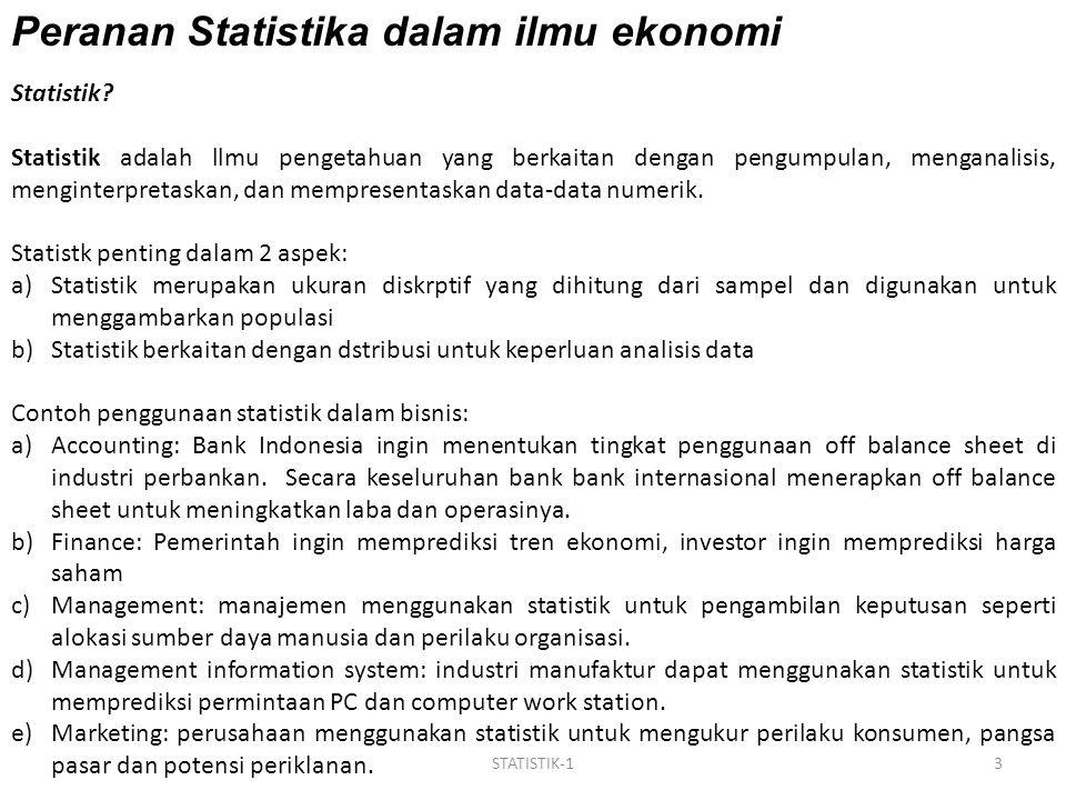 Peranan Statistika dalam ilmu ekonomi