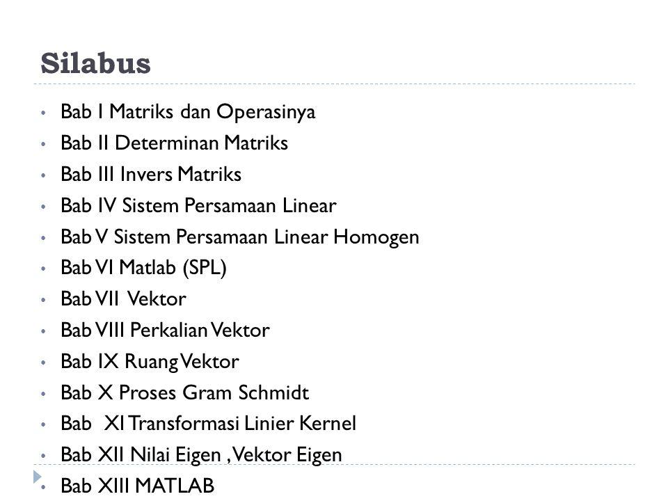 Silabus Bab I Matriks dan Operasinya Bab II Determinan Matriks