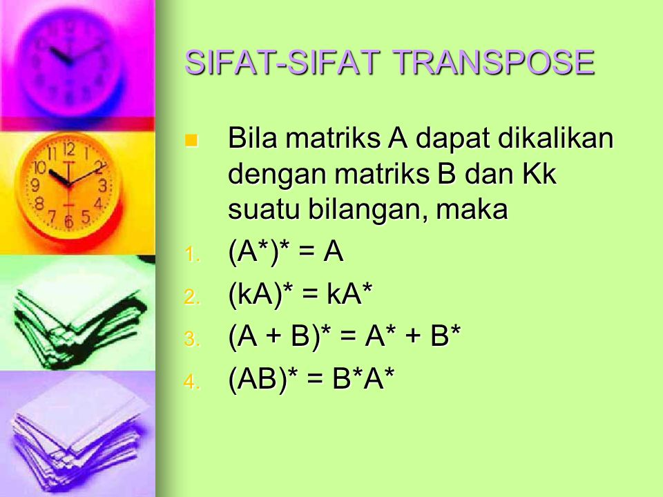 SIFAT-SIFAT TRANSPOSE