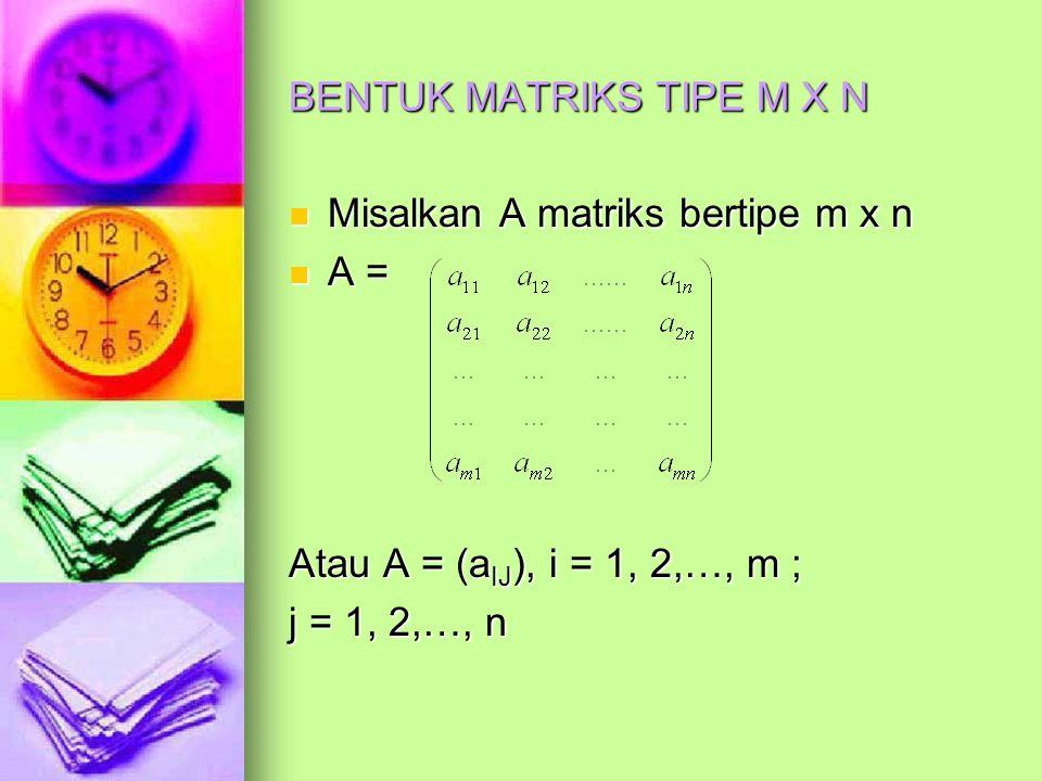 BENTUK MATRIKS TIPE M X N