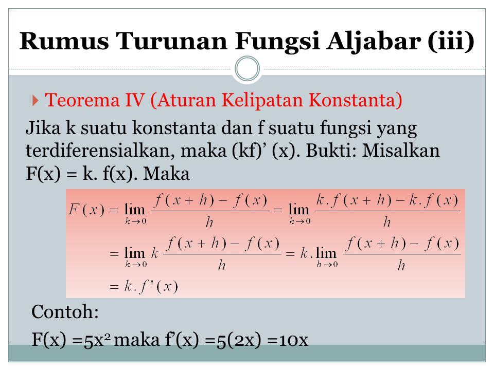 Rumus Turunan Fungsi Aljabar (iii)