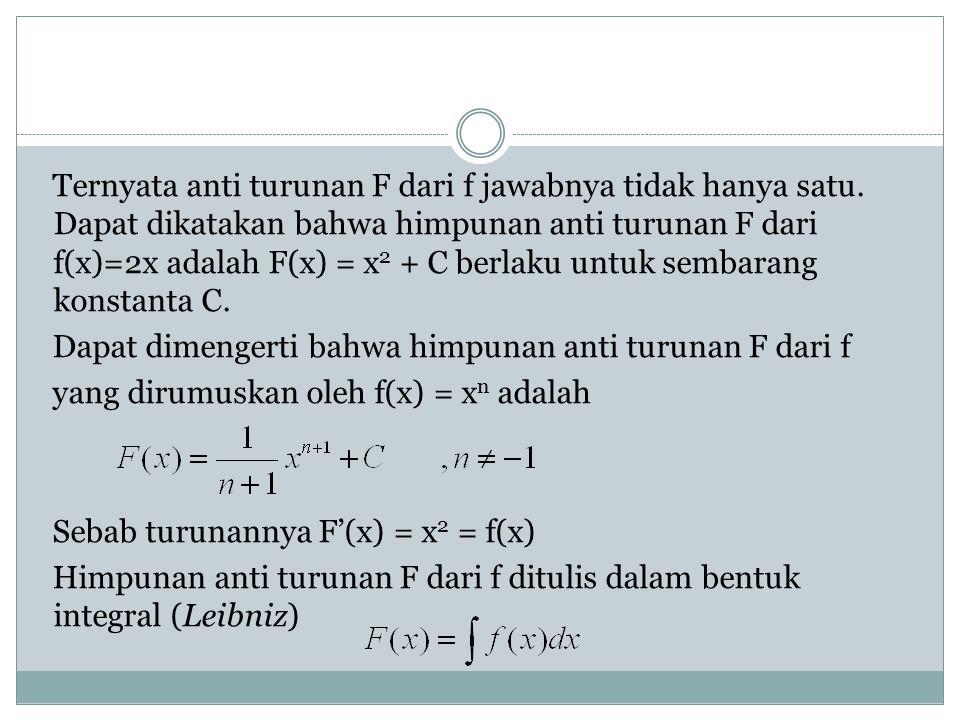 Ternyata anti turunan F dari f jawabnya tidak hanya satu
