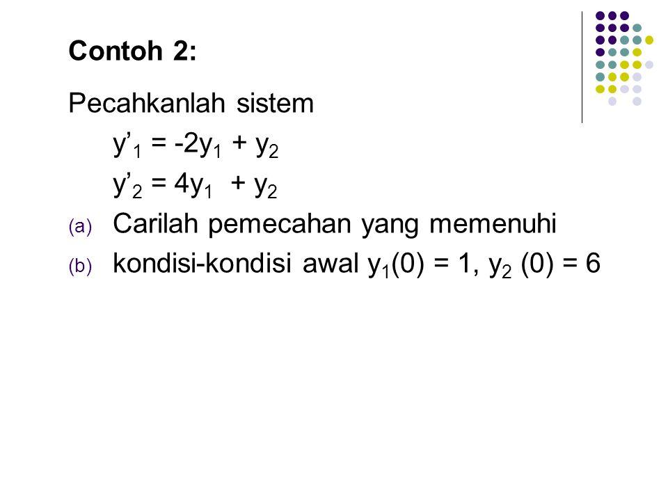 Contoh 2: Pecahkanlah sistem. y'1 = -2y1 + y2. y'2 = 4y1 + y2. Carilah pemecahan yang memenuhi.