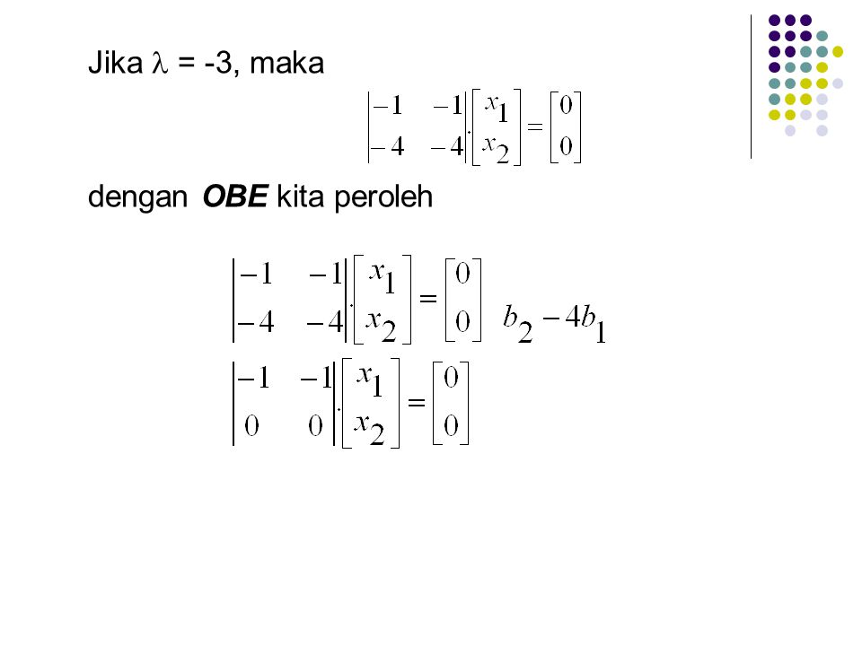 Jika  = -3, maka dengan OBE kita peroleh