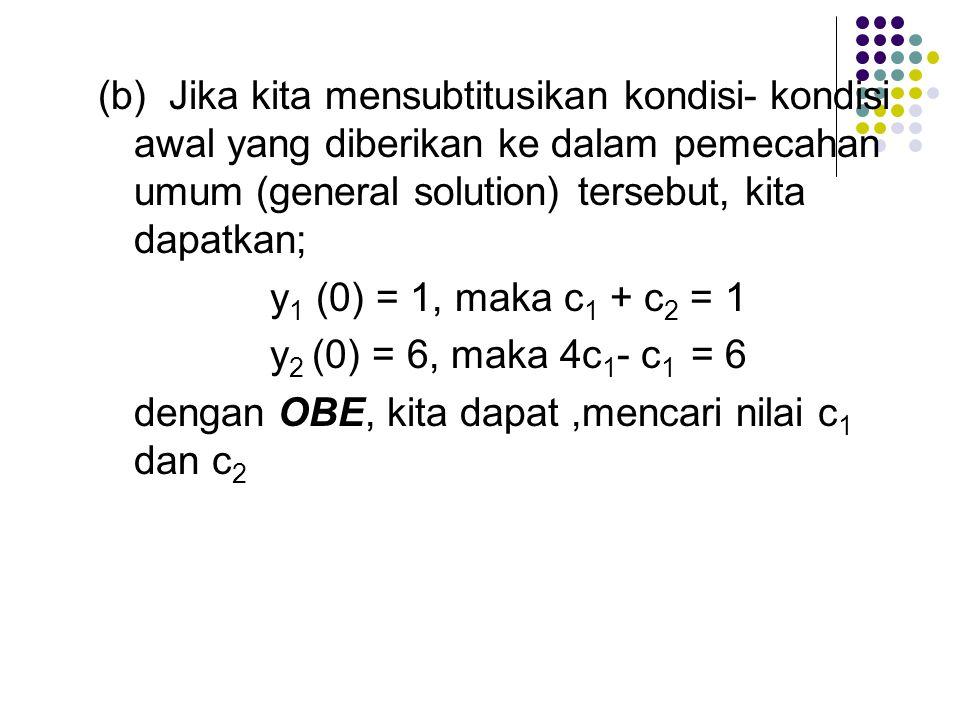 (b) Jika kita mensubtitusikan kondisi-