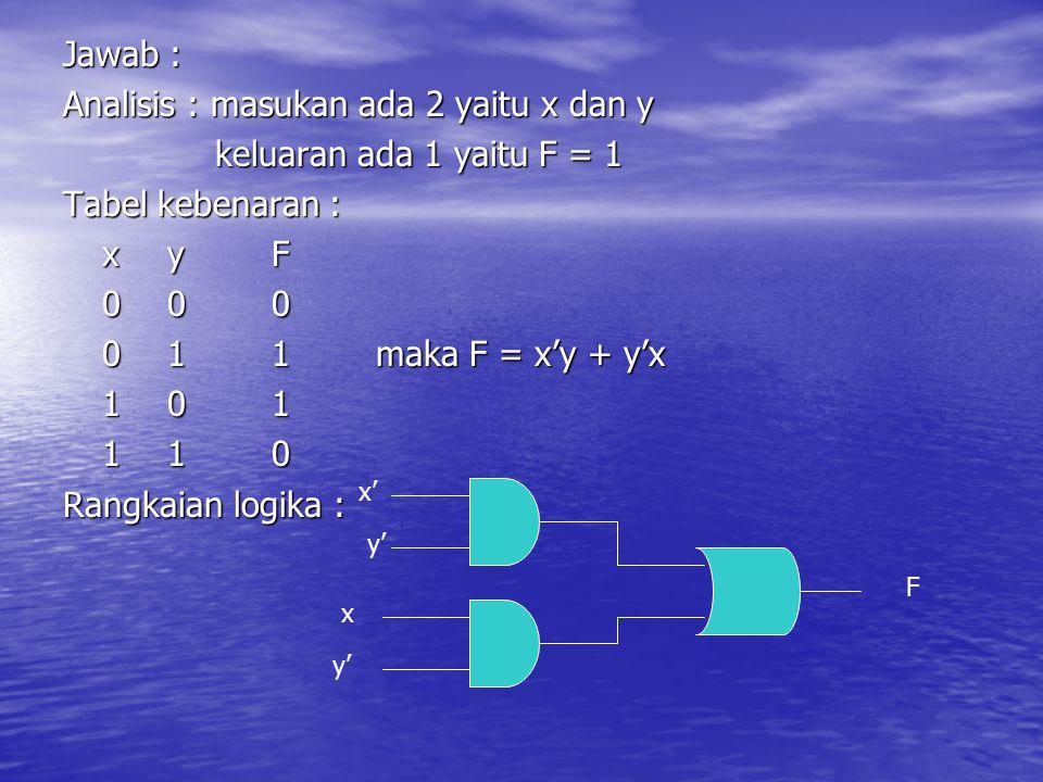 Analisis : masukan ada 2 yaitu x dan y keluaran ada 1 yaitu F = 1