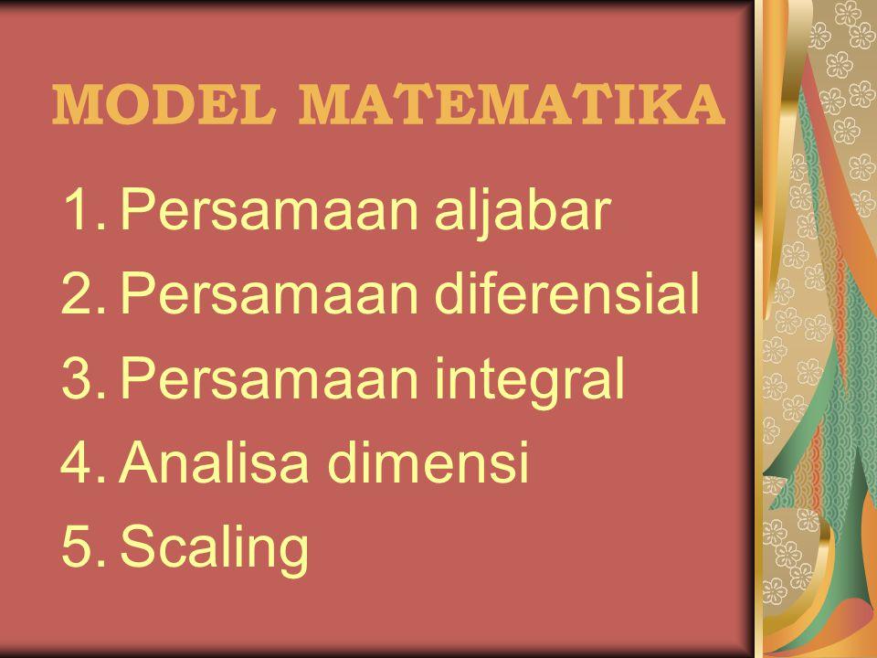 MODEL MATEMATIKA Persamaan aljabar Persamaan diferensial Persamaan integral Analisa dimensi Scaling