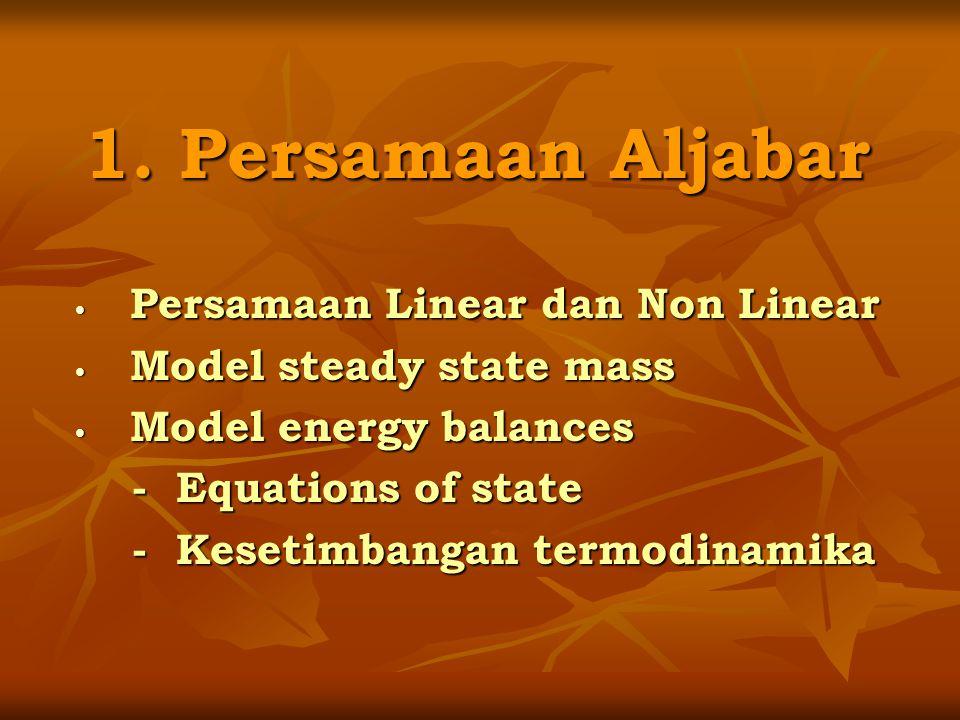 1. Persamaan Aljabar Persamaan Linear dan Non Linear