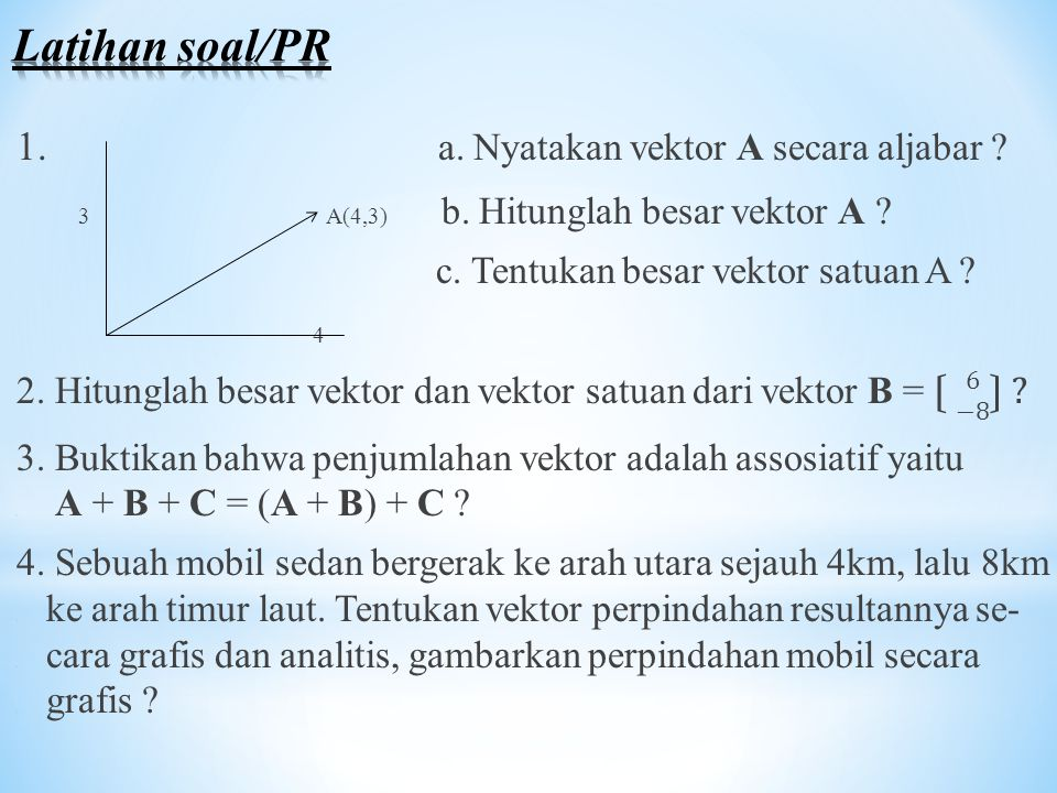 Latihan soal/PR 1. a. Nyatakan vektor A secara aljabar