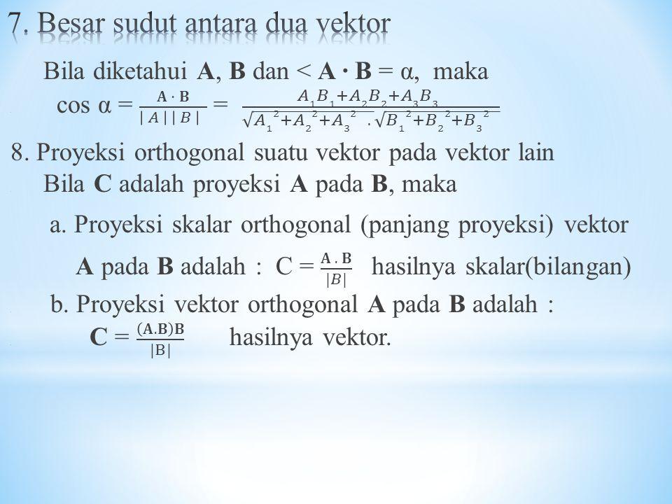 7. Besar sudut antara dua vektor