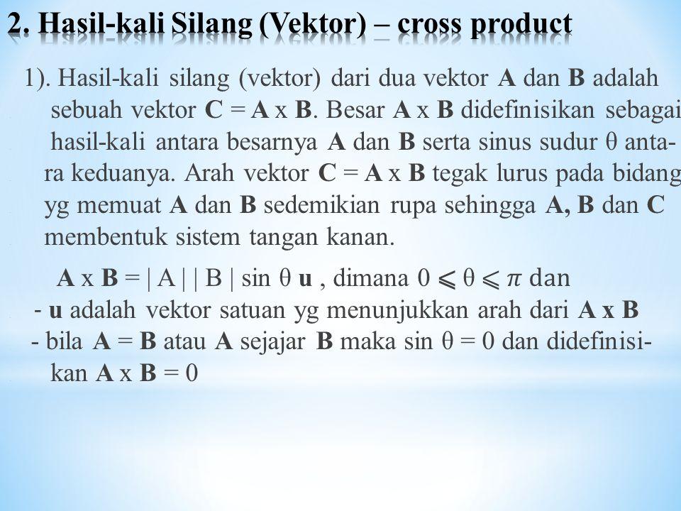 2. Hasil-kali Silang (Vektor) – cross product